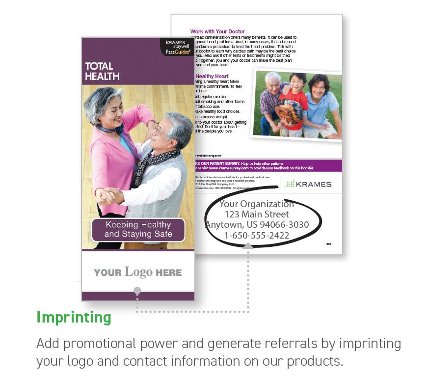 Imprinting: Add promotional power and generate referrals by imprinting your logo and contact information on our products.